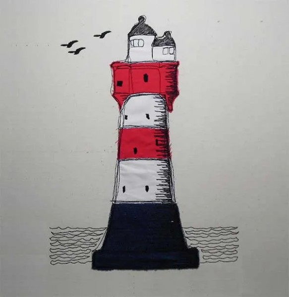 Embroidery Design Lighthouse Doodle