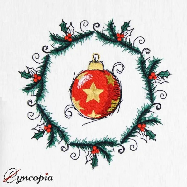 Embroidery Design Christmas Ball Medallion