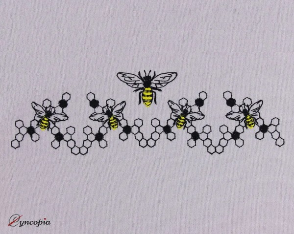 Embroidery Design Bees Honeycomb Border