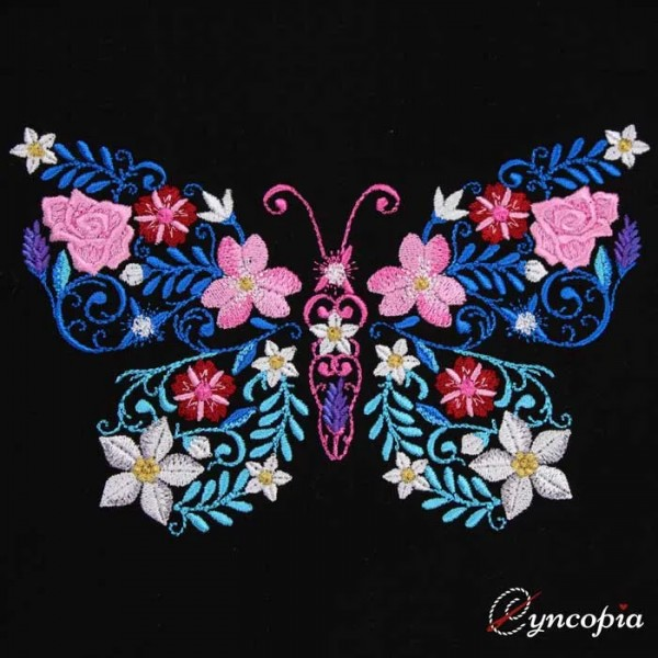 Embroidery Design Flower Ornament Butterfly
