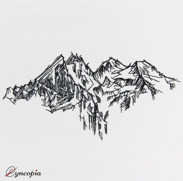 Embroidery Design Mountain Panorama