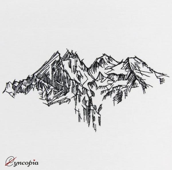 Motif de Broderie Panorama de Montagnes
