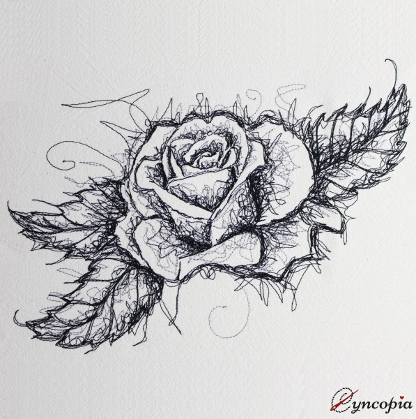 Embroidery Design Second Rose scribble