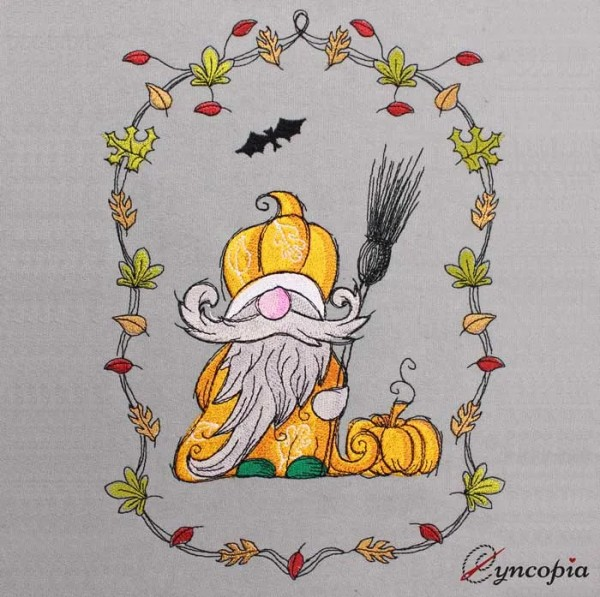 Embroidery Design Autumn Gnome Gardener