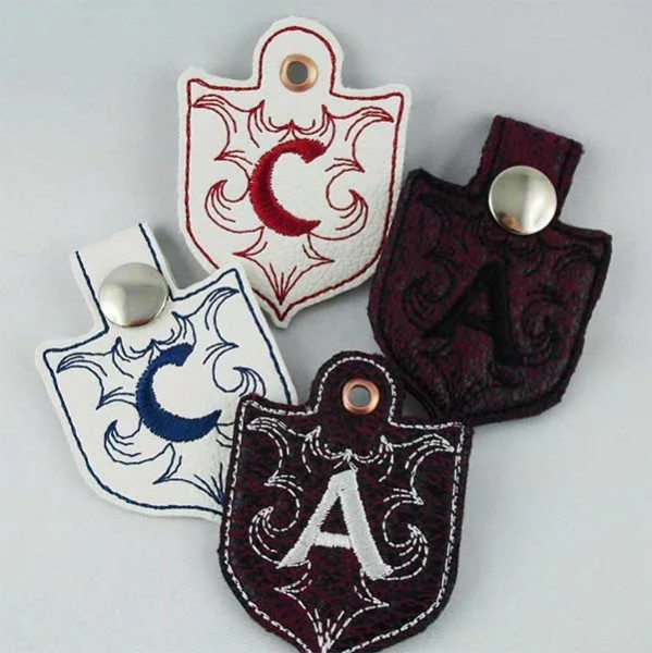 Embroidery Design Castle Monogram Key Fob ITH