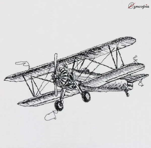 Motif de Broderie Avion Biplan Scibble