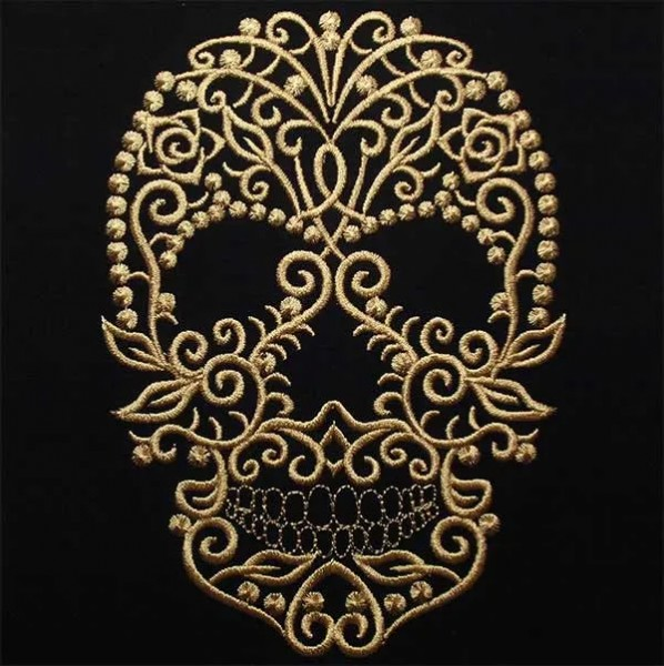 Embroidery Design Skull Fine Ornament