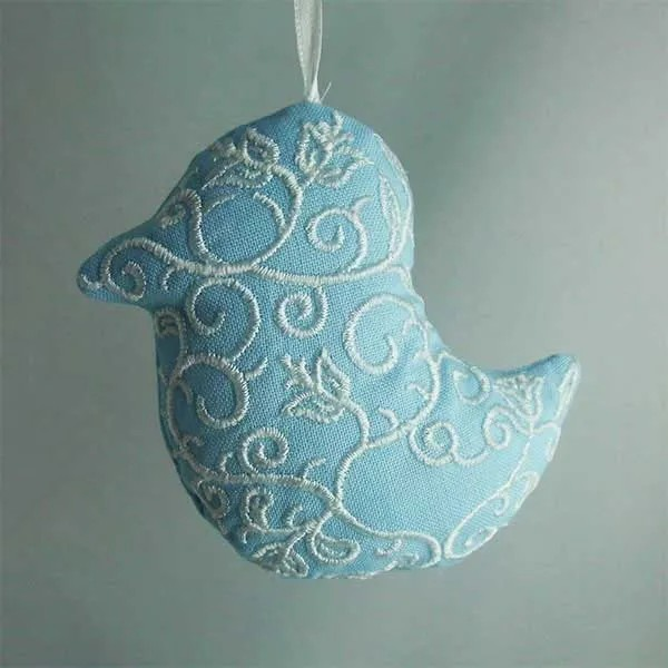 Embroidery Design Bird Ornament ITH
