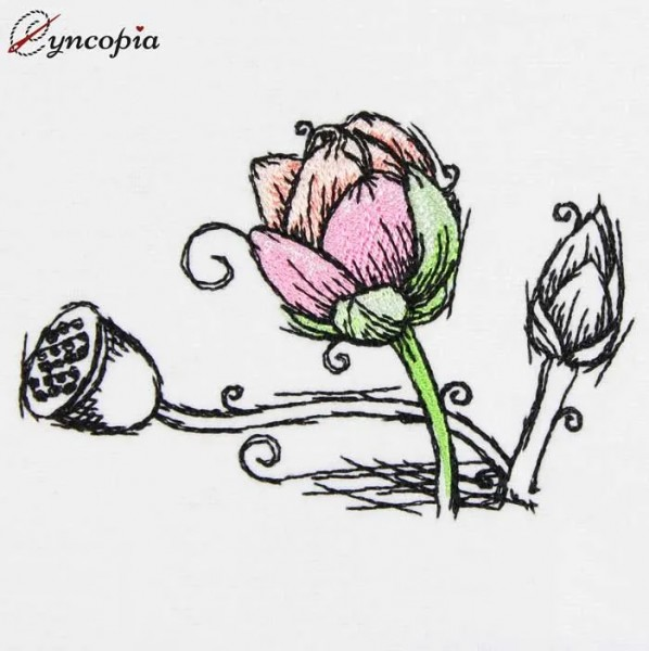 Embroidery Design Lotus Flower No 1