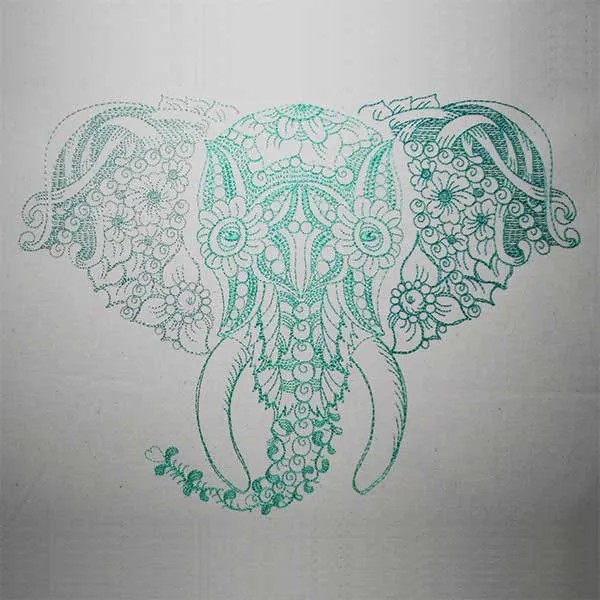 Embroidery Design Elephant Zendoodle