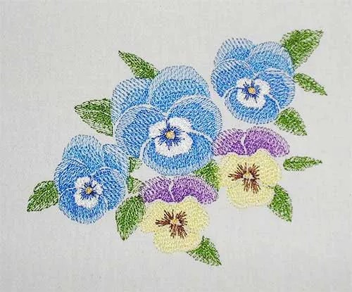Embroidery Design Pansy Set