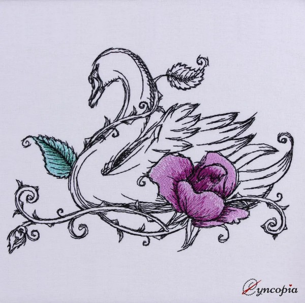 Embroidery Design Swan Rose romantic