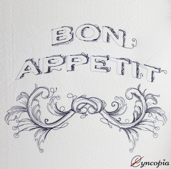 Embroidery Design Bon Appetit scribble