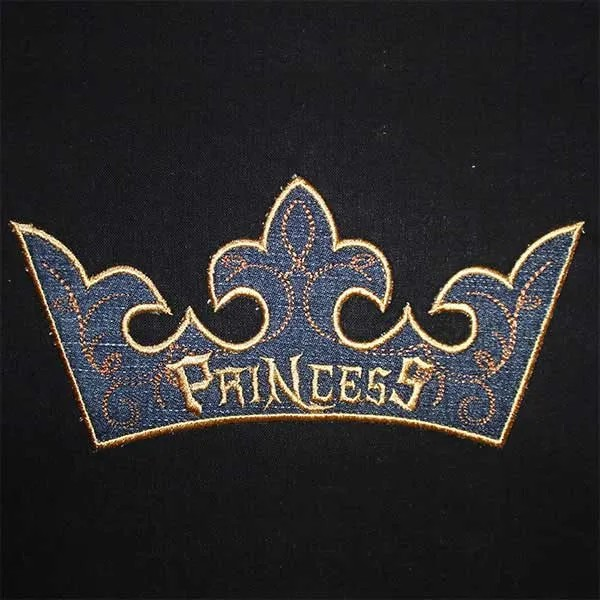 Embroidery Design Crown Prince Princess Appli
