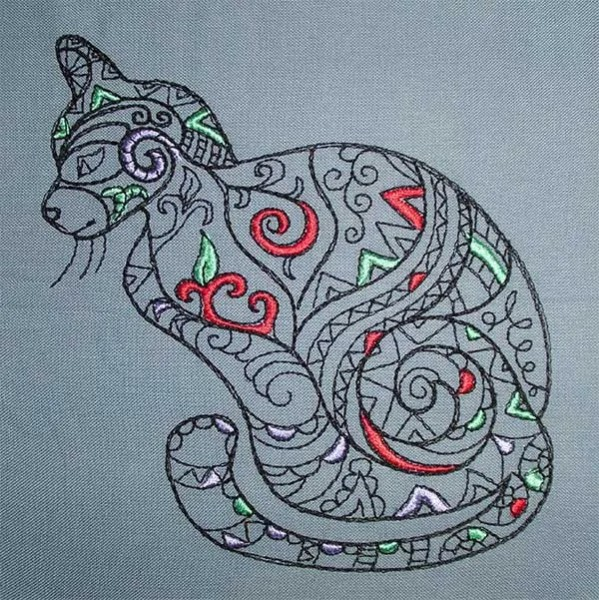 Embroidery Design Ethno Cat