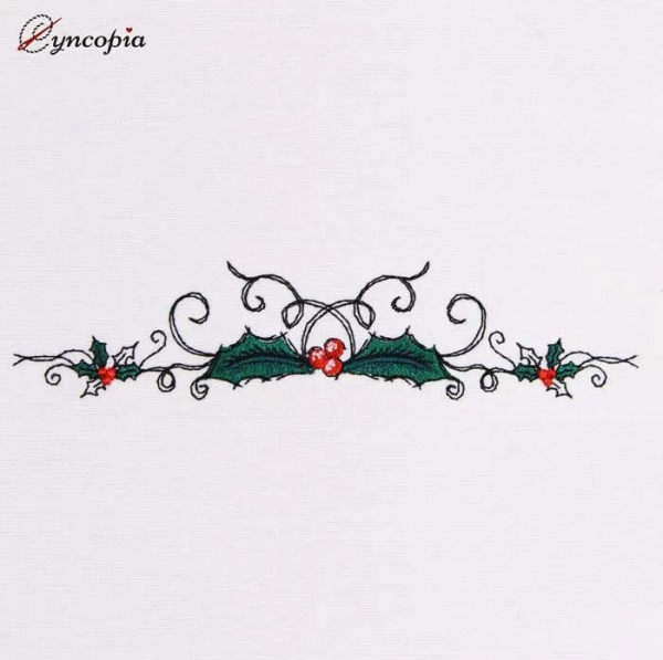 Embroidery Design Holly Border
