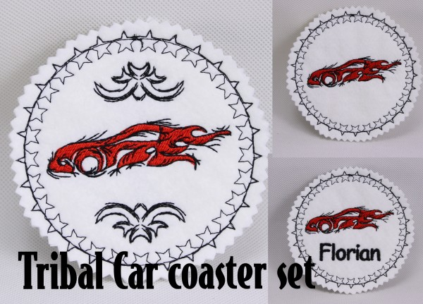 Fichier Broderie Voiture Tribal Coaster ITH