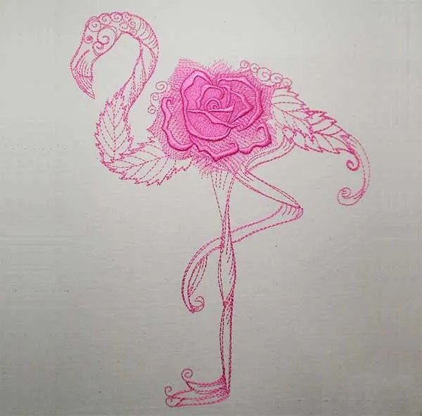 Stickdatei Flamingo Rose