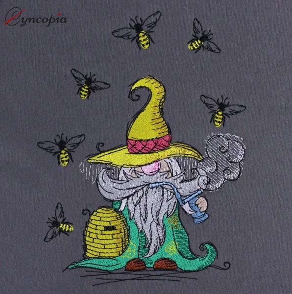 Embroidery Design Beekeeper Bee Gnome