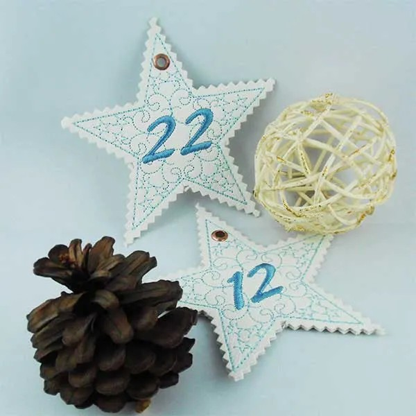 Embroidery Design Christmas Numbers Star ITH