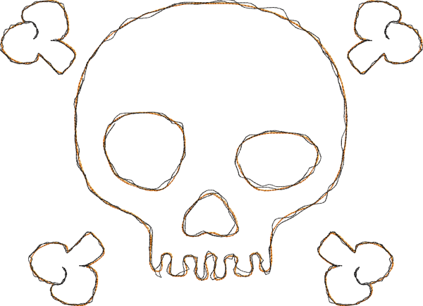 Embroidery Design Pirate Skull Doodle