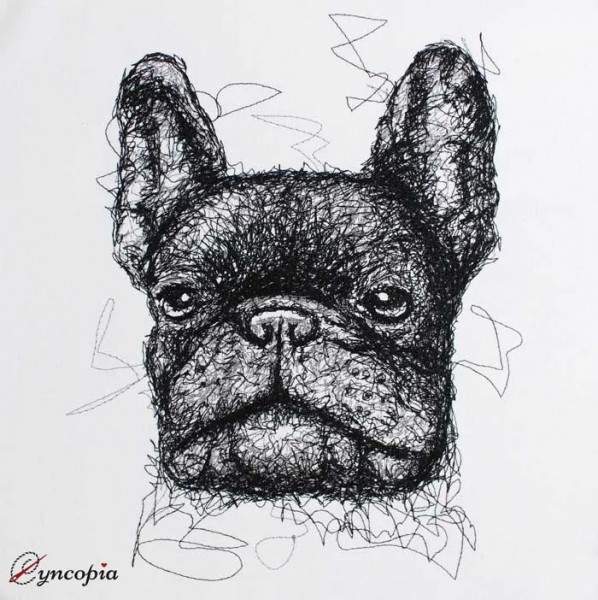 Embroidery Design French Bulldog scribble