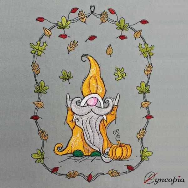 Embroidery Design Autumn gnome leaf