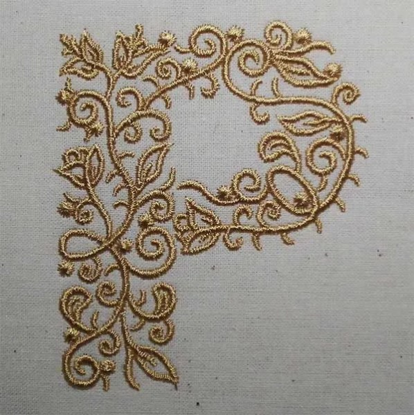 Embroidery Design P Fine Ornament
