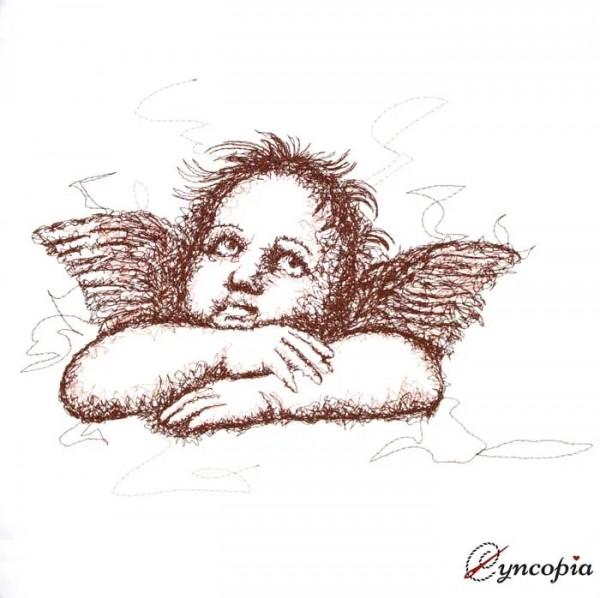 Embroidery Design Angel Michelangelo scribble