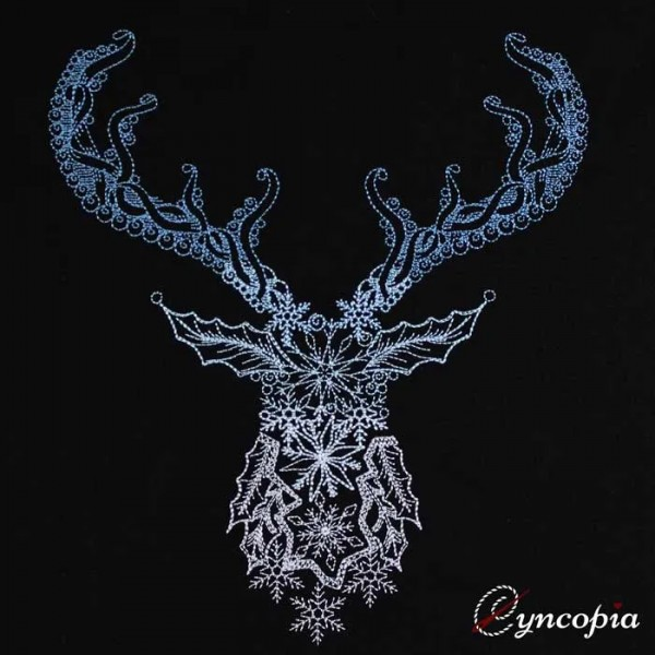 Embroidery Design Reindeer Christmas Zendoodle