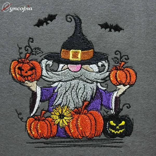 Embroidery Design Halloween Gnome Pumpkin