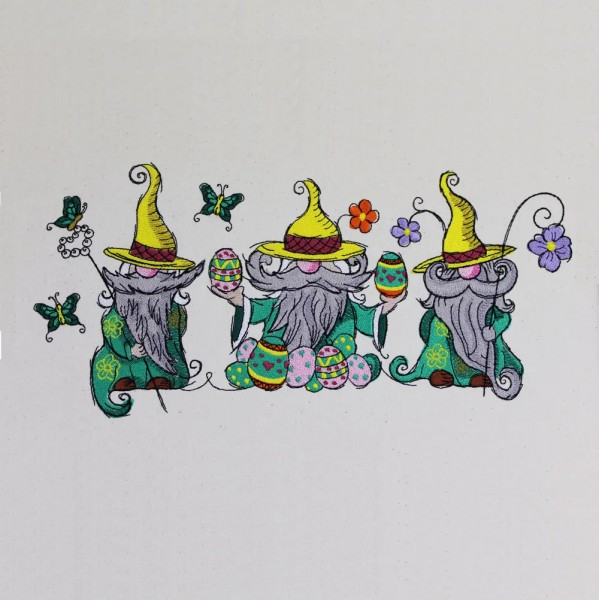 Embroidery Design Three Spring Gnomes