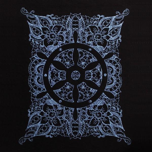 Embroidery Design Nautical Wheel Invers Zendoodle