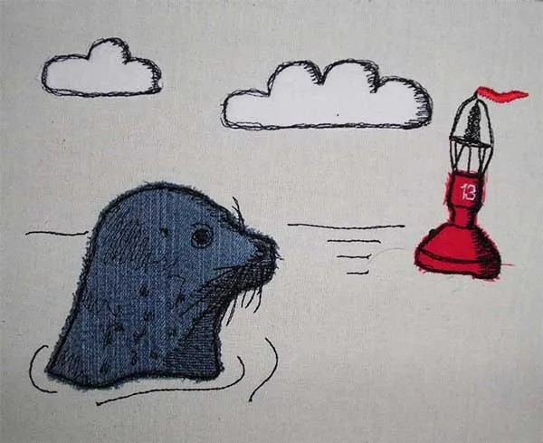 Embroidery Design Seal with Buoy Doodle