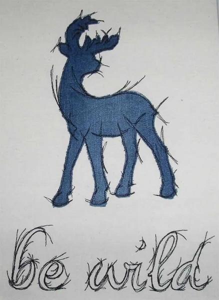 Embroidery Design Wild Deer Doodle