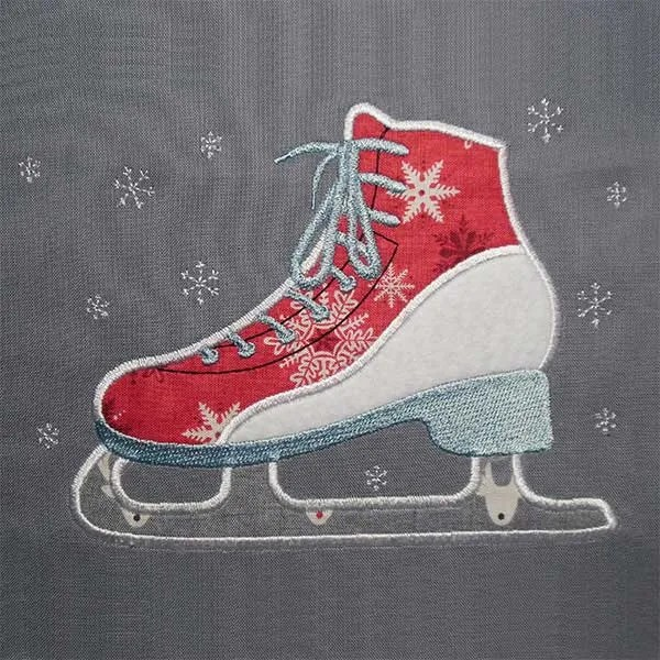 Embroidery Design Ice Skate Appli