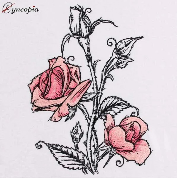 Embroidery Design Rose Romantic No. 2