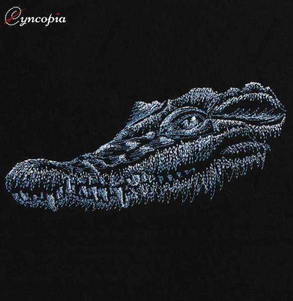 Stickdatei Krokodil auf schwarz