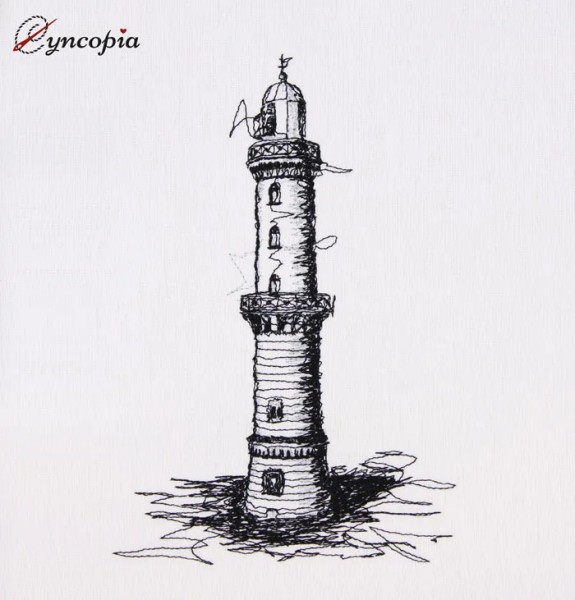 Embroidery Design Warnemünde lighthouse scribble