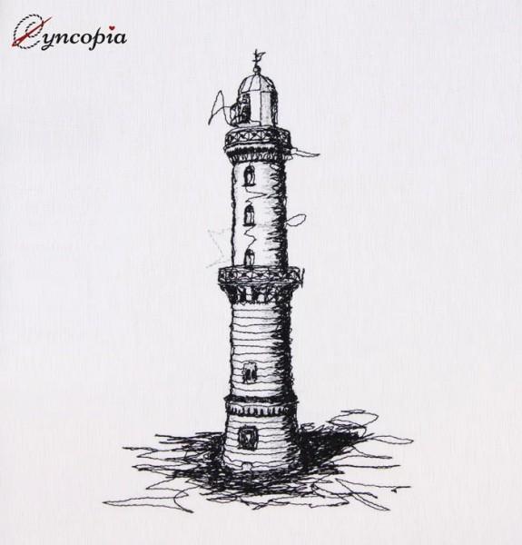Stickdatei Warnemünde Leuchtturm scribble