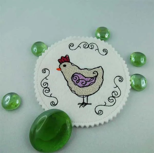 Embroidery Design Hen Scribble Coaster ITH