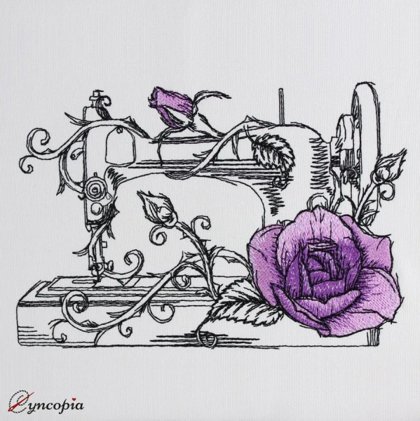 Motif de Broderie Machine à Coudre Rose romantique