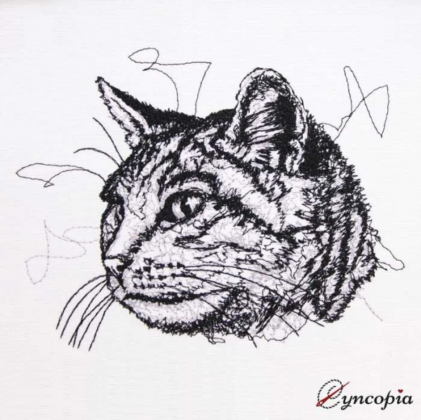 Embroidery Design Cat Head Scribble