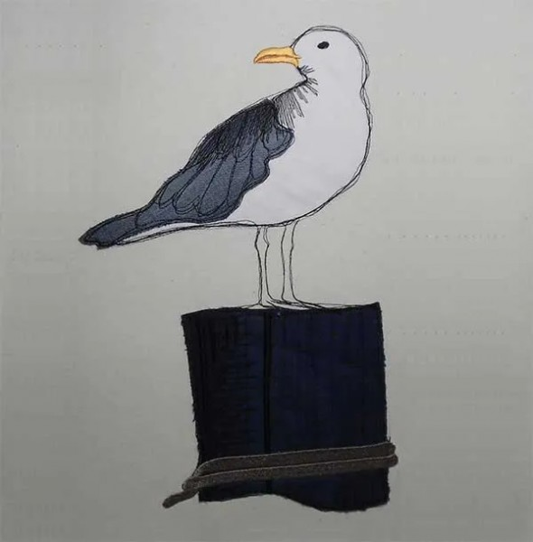 Embroidery Design Seagull on Pole Doodle