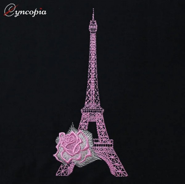 Embroidery Design Eiffel Tower Rose