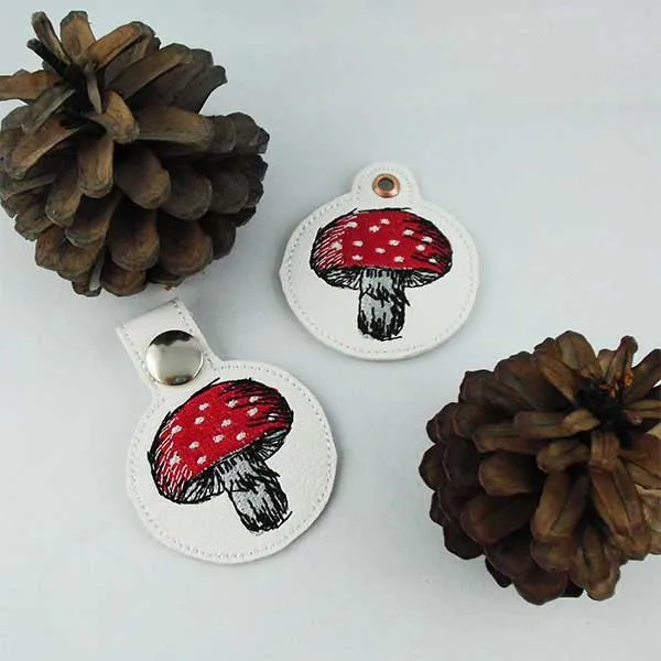 Embroidery Design Toadstool Key Fob ITH