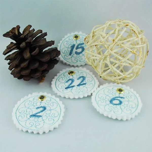 Stickdatei Adventskalender Zahlen Button ITH
