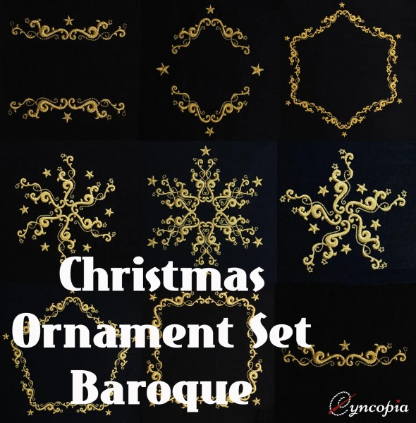 Embroidery Design Christmas Ornament Baroque Set