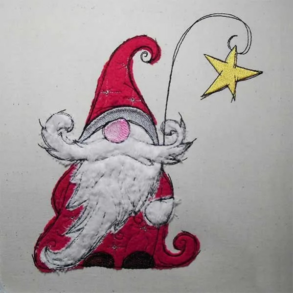 Embroidery Design Christmas Gnome Star doodle
