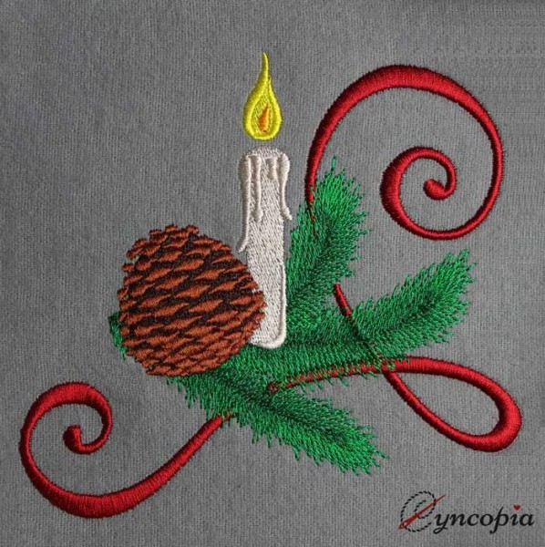 Embroidery Design Pine with Candle